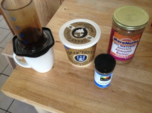 Aeropress coffee, greek yogurt, almond butter, cinnamon