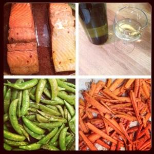 Lime salmon, kiwi wine, sauteed sugar snap peas, and carrot fries
